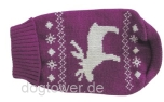 Wolters Strick- Hundepullover Elch pflaume/weiss